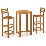 Juego de bistró para Patio de 3 Piezas, Juego de Mesa Plegable de Madera, 2 sillas de Madera para jardín, Muebles de Exterior (Table-2Chair)