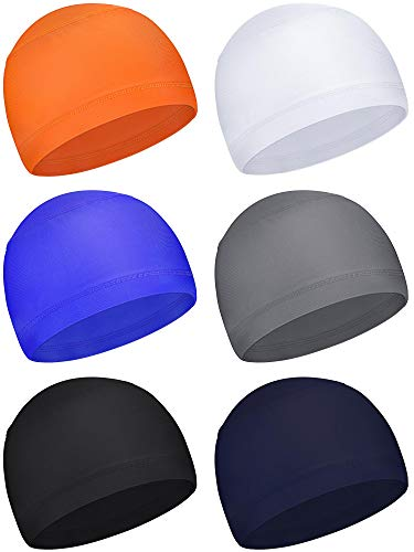 6 Pieces Sweat Wicking Cap Running Hats Skull Cap Helmet Liner for Men and Women Fitting Running Jogging Exercise (Black, Grey, Sapphire Blue) (White, Grey, Orange, Sapphire Blue, Dark Blue, Black)