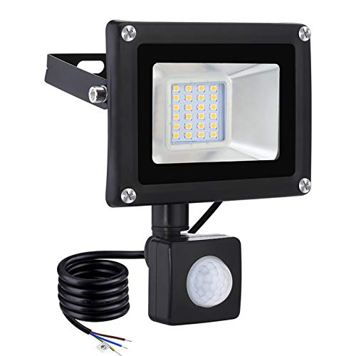 LED Flood Light with Induction, IP65 Waterproof Exterior Security Light, 3200K Daylight White Lighting Super Bright Floodlights for Stadium, Lawn, Garages, Yard, Garden,20W