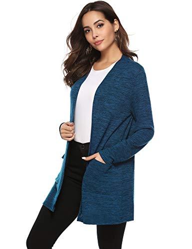 Abollria Damen Leichte Melierte Strickjacke Casual Langarm Cardigan mit Tasche Dünne Lutige Sommerjacke für Alltag Urlaub,Blau,XL