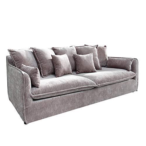 Riess Ambiente Großes Hussensofa Heaven 3-Sitzer 210cm Taupe Samt inkl. Kissen Sofa Couch Federkern