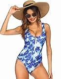Ekouaer Women's Sexy Bathing Suits Zipper Front Deep V Low Back One Piece Swimwear High Leg Swimsuit (Blue Pattern,L)