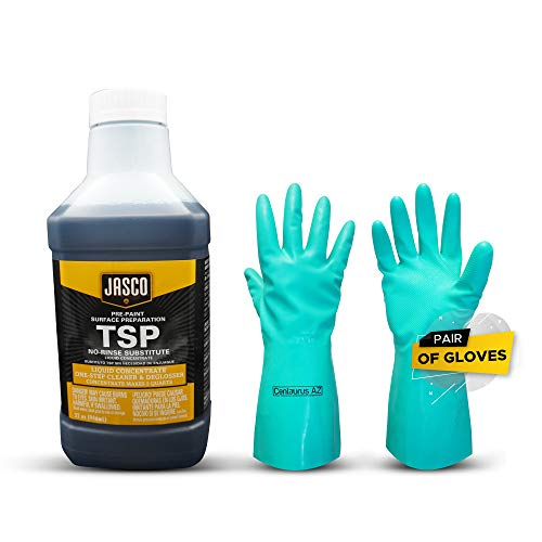 JASCO TSP Substitute Solutions Tri-Sodium Phosphate Extremely Strong and Effective All-Purpose Cleaner Heavy-Duty Degreasing and Deglossing Plus Centaurus AZ Gloves, 1 Quart Concentrated