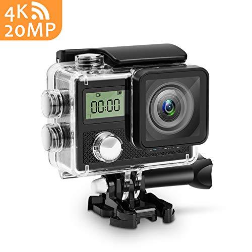 20MP Action Camera,Panlelo V5 4K Action Cam per Casco Videocamera Subacquea CMOS-Sensor wifi 170 Gradi Grandangolare Fotocamera Sportiva Impermeabile per Snorkeling Immersione Fotocamere