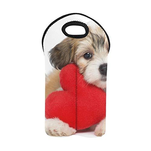 Monedero para vino Cute Lover Valentine Havanese Puppy Dog Wine Tote Bag Portabotellas doble Bolsas de vino para botellas de vino Soporte para botellas de vino de neopreno grueso M