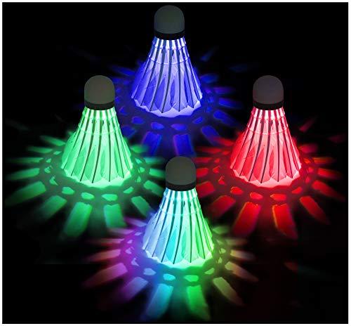 EONAZE LED Federbälle, Nachtübung Badminton Beleuchtung Badmintonbälle, Langlebig Sporttraining Badminton Bälle für Innen Draussen Sportsaktivitäten (4 Stück(Rot, Grün, Blau, Farbig))