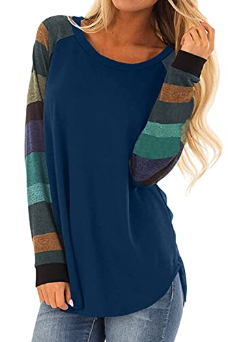 Dokotoo Womens Spring Summer Autumn Long Sleeve Color Block Casual Tops...