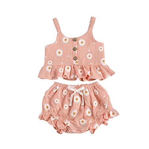 WangsCanis Vestido de dos piezas para niña con pantalones cortos triangulares con lazo de margarita y camiseta de tirantes Rosa 1-2 Años