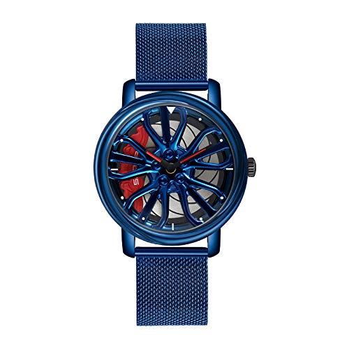 Reloj Mujer,Tendencia de Reloj Giratorio Simple Personal Cool Femenino Estudiante Handsome Stone-Azul