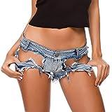Denim Moda Donna Shorts Vita Bassa dei Jeans Elastico Logoro Raw Hem Pantaloni Corti