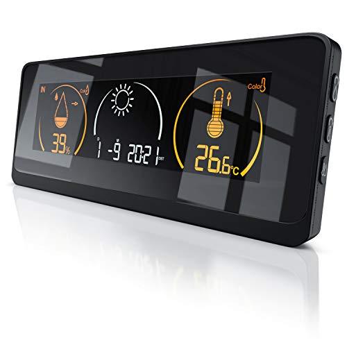 CSL-Computer Funk Wetterstation mit Farbdisplay und Außensensor - DCF Empfangssignal Funkuhr - Innen- und Außentemperatur - Absolut und Relativdruckmodus – Temperaturalarm – 15 Tasten - LCD-Display