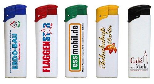 Elektronik-Feuerzeug mit Druck 4-farbig / Fotodruck 100 Stück einseitig bedruckt