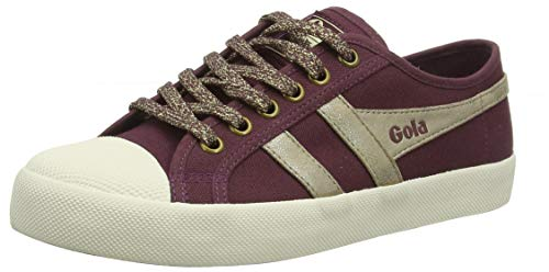 Gola Damen Coaster Mirror Sneaker, Roter Windsor Wein Gold Off White Dark, 38 EU