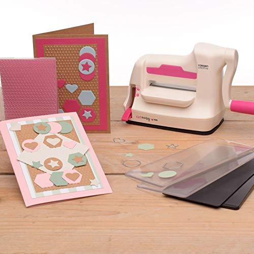 Vaessen Creative Mini Máquina De Corte Y Repujado Kit De Inicio, Blanco/Rosa, 7,5 cm