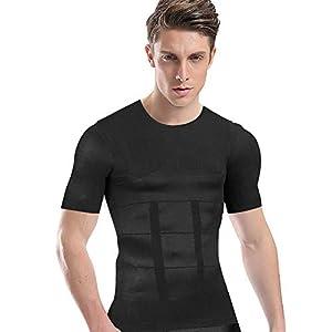 加圧シャツ メンズ 加圧インナー コンプレッションウェア ダイエット 加圧式脂肪燃焼Tシャツ 半袖 スポーツウェア 補正下着 姿勢矯正 (M, ブラック)