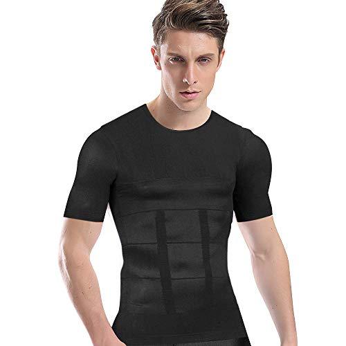 加圧シャツ メンズ 加圧インナー コンプレッションウェア ダイエット 加圧式脂肪燃焼Tシャツ 半袖 スポーツウェア 補正下着 姿勢矯正 (L, ブラック)
