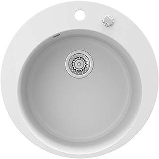 Bergström Granitspüle rund Durchmesser 505mm inkl. Siphon Küchenspüle Einbauspüle Weiss