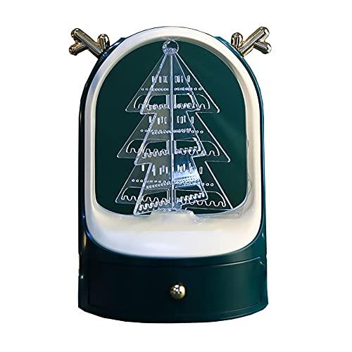 Soporte de joyería giratorio de 360°, soporte de joyería de Navidad, regalo creativo, exquisito, ligero, anillo de joyería de lujo, collar, estante caja de almacenamiento (color: verde)