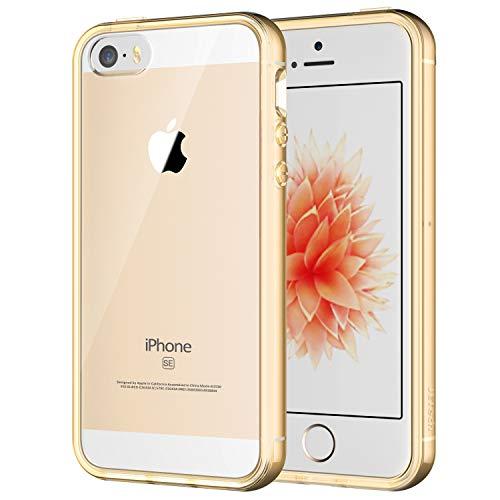 JETech Hülle Kompatibel iPhone SE 2016 (Nicht kompatibel mit dem 2020), iPhone 5s und iPhone 5, Schutzhülle Anti-kratzt Transparente Rückseiteülle, Gold