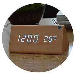 Little lemon Wood Clocks,Wooden Alarm Clock Calendar Thermometer for Gift,Sounds Control Digital Clock & Despertador,Bamboo Blue