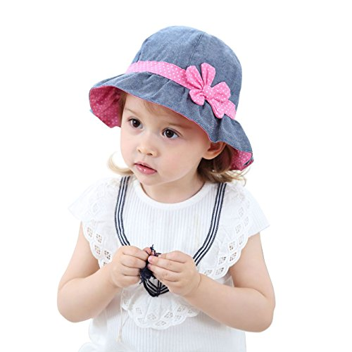 jerague Toddler Kids Girls Breathable Sun Hats Baby Foldable Denim Sunhat Summer Swim Caps Flower 50 UPF Protection