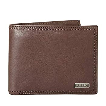 Relic by Fossil Men s Mark Leather and Polyester Traveler Bifold Wallet Color  Deep Brown Model   RML5801200