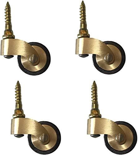 Roulette en Laiton Massif, roulettes de Style Antique de 25 mm, Roues de roulettes Mobiles, Roulette pivotante à 360 °, roulettes en Caoutchouc Vintage pour Meubles, Ajustement de Style vis, capacité