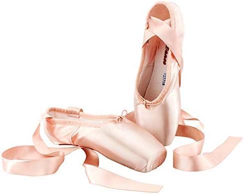 Noblik Ballet Shoes Pointe Shoes Bandage Ballet Dance Shoes Girl Woman Professional Satin Dancing Shoes With Sponge-23Cm