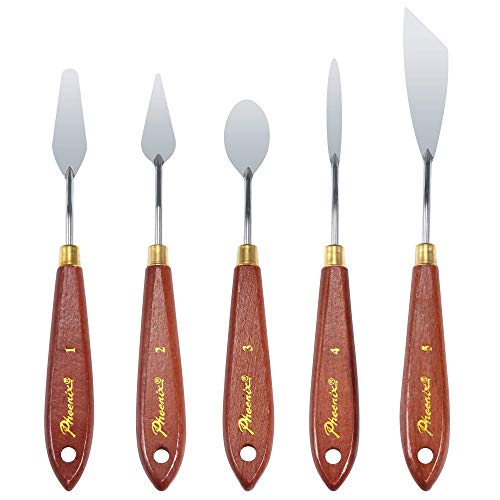 DerBlue 5pcs Stainless Steel Artists Palette Knife Set,Spatula Palette Knife Painting Mixing Scraper,Thin and Flexible Art Tools for Oil Painting, Acrylic Mixing, Etc. (style2)