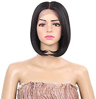 Women's Synthetic Lace Front Wig Short Black Middle Part Bob Haircut Natural Wigs Costume Wig