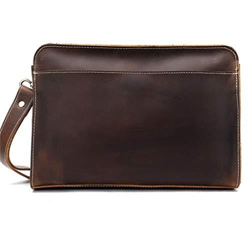 Jsx Billetera Larga para Hombre Billetera de Cuero - Bolso de Embrague de Gran Capacidad (marrón Oscuro)