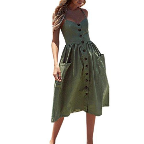 SANFASHION Damenmode Sommerknöpfe Striped Off Schulter Ärmelloses Kleid Prinzessin Kleid (M, Armeegrün)
