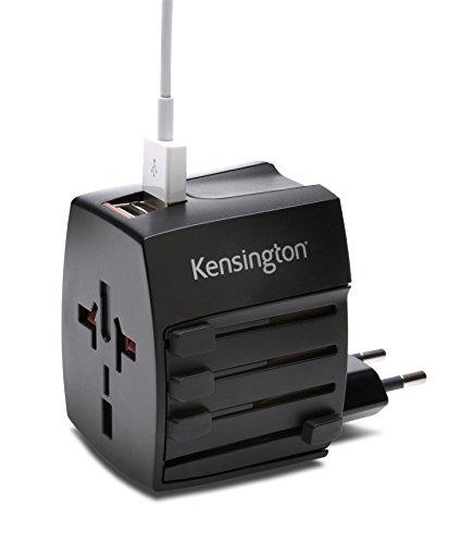 Kensington Adattatore Da Viaggio Internazionale Kensington® Per Smartphone, Tablet, Laptop E Altri Dispositivi Reiseadapter, 13 cm, Schwarz (Nero)