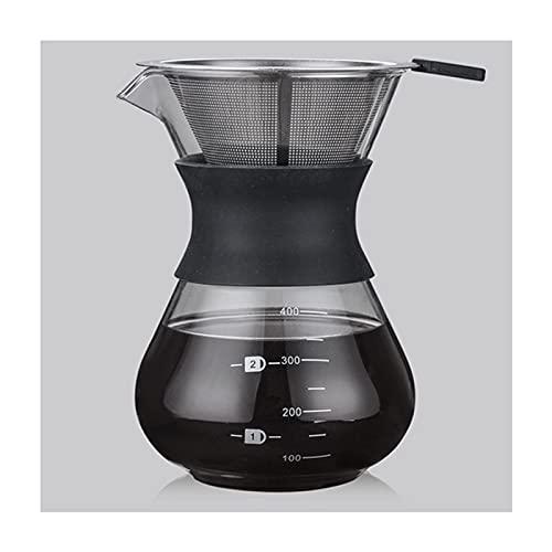 WANGLX Cafetera Jarra de Vidrio de Borosilicato Resistente a La Oxidación Filtro Sin Papel de Acero Inoxidable Cafetera Manual de Goteo de Café,B