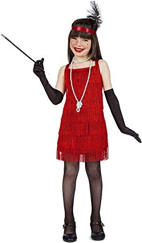 Kimokawaii Disfraz Charleston Color Rojo Talla 3-4 AÑOS TAMAÑO Infantil