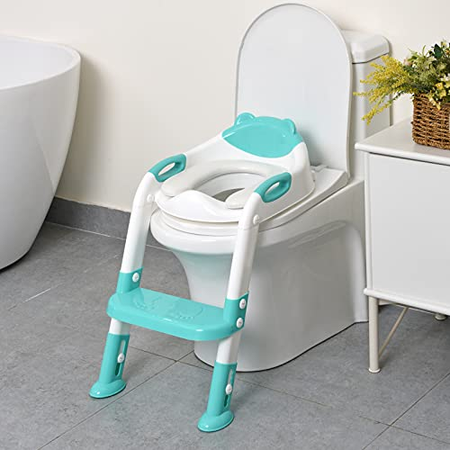 711TEK Potty Training Seat with Step Stool Ladder,Potty Training Toilet for Kids Boys Girls Toddlers-Comfortable Safe Potty Seat Potty Chair with Anti-Slip Pads Ladder (Peacock Blue)