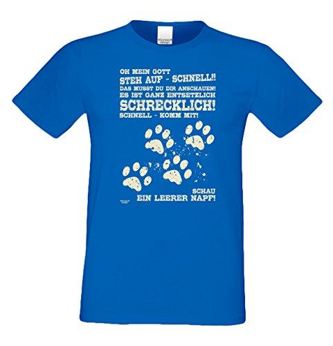Leerer Napf :: Lustiges Sprüche Fun T-Shirt mit Tiermotiv für Herren :: Geschenkidee für Ihn Geschenk für Katzenliebhaber Hundeliebhaber Pfotenabdrücke Farbe: royal-blau Gr: L