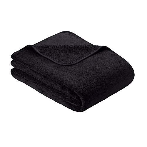 s.Oliver Kuscheldecke 150x200cm Flauschige Wohndecke - warme Microfaser Decke schwarz, hochwertig eingefasst