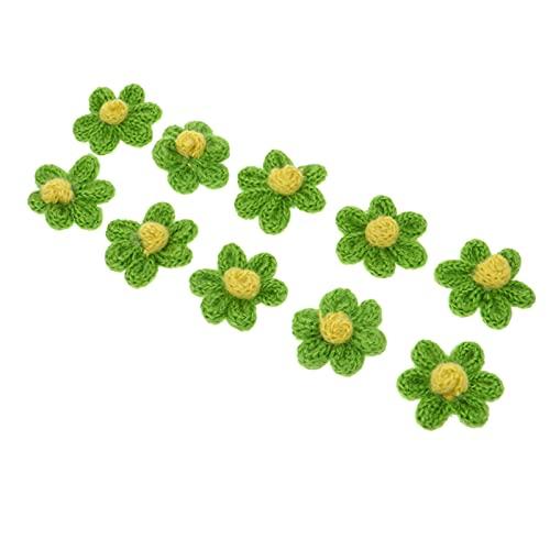 EXCEART 10 Piezas de Lana de Ganchillo Flores DIY Que Hacen Punto Flores Flores Rústicas Adornos para Artesanías Coser Diademas Fiesta Favorece Luz Verde