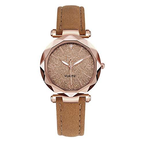 Fenverk 3470 Quartz Damen-Uhr mit Glitzerndem Strass-Steinen Zifferblatt Mesh-Armband,Damen Armbanduhr,damenuhr Rosegold(Gold#03)