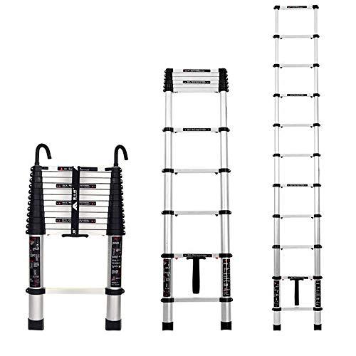 Folding extension ladder Scala telescopica per carico 150 kg Scala di prolunga in Lega di Alluminio con Un Pulsante Design telescopico Gancio Staccabile Argento Nero