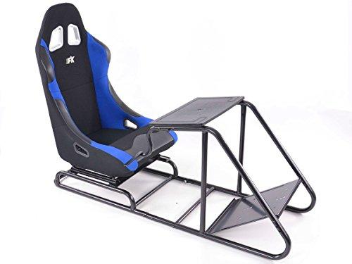 Fauteuil simulation course Gamer pour PC et consoles, tissu noir/bleu