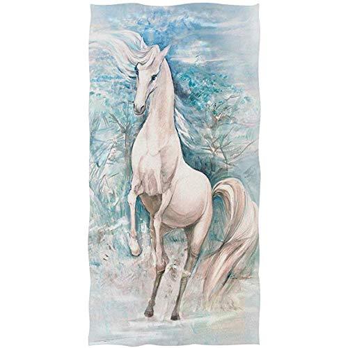 MJDIY Toallas De Playa,White Nice Horse Al Galope En Invierno Toalla De Mano Yoga Gimnasio Algodón Cara SPA Toallas Absorbente para La Decoración del Hogar