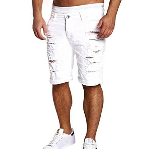 Zarupeng Beiläufige Kurze Hosen Cargo-Shorts der Männer zerstörten Knie-Längen-Loch zerrissene Hosen (M, Weiß)