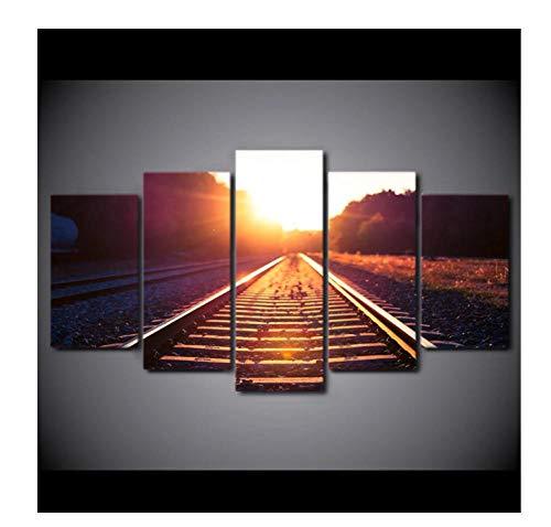 Posters 5 Panels Leinwand Gemälde Hd-Gedruckte 5-Teilige Leinwand Kunstbahn Zug Morgengrauen Malen Wandbilder Für Wohnzimmer Wandplakat16X24Inx2,16X32Inx2,16X40Inx1