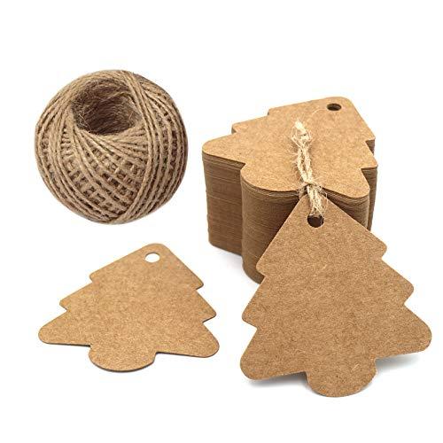 G2PLUS 100 Kraft Paper Tag,Etichette per Regali Natalizi,Etichetta Bagaglio, Etichette a Forma di Natale da Appendere, con 30 Metri Iuta Spago per Bomboniere e Artigianato Fai-da-Te