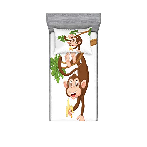 Ambesonne Cartoon Fitted Sheet & Pillow Sham Set, Funny Monkey Hanging from Tree and Holding Banana Jungle Animals Theme Print, Decorative Printed 2 Piece Bedding Decor Set, Twin, Chocolate White