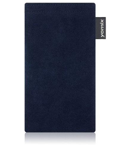 yomix CUSTODIA porta cellulare Hugo blu per Nokia Lumia 820 PureView in alcantara con funzione pulisci display grazie all?imbottitura in microfibra