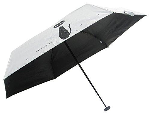 日傘 折りたたみ レディースのプレゼント ギフト用 肌を守るUV99%カット 遮光99.9%カット 超コンパクト 晴雨兼用 ミニ傘 黒猫とロゴ 53cm (白)