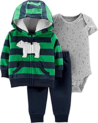 Carter's Baby Boys 3 Piece Little Jacket Set (Polar Bear) (6 Months) Navy/Green
